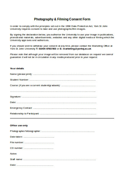 formal photography consent form