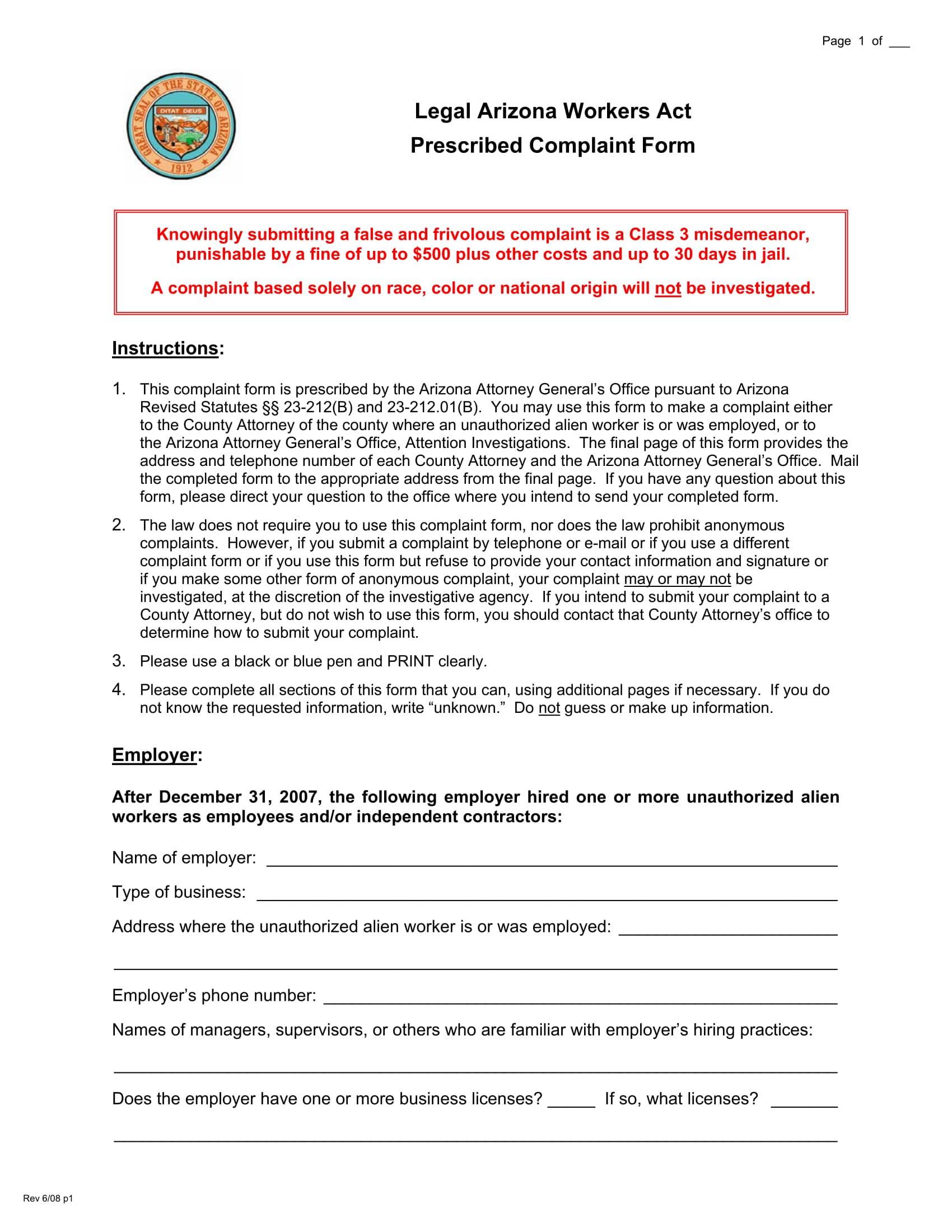 free legal complaint form 1