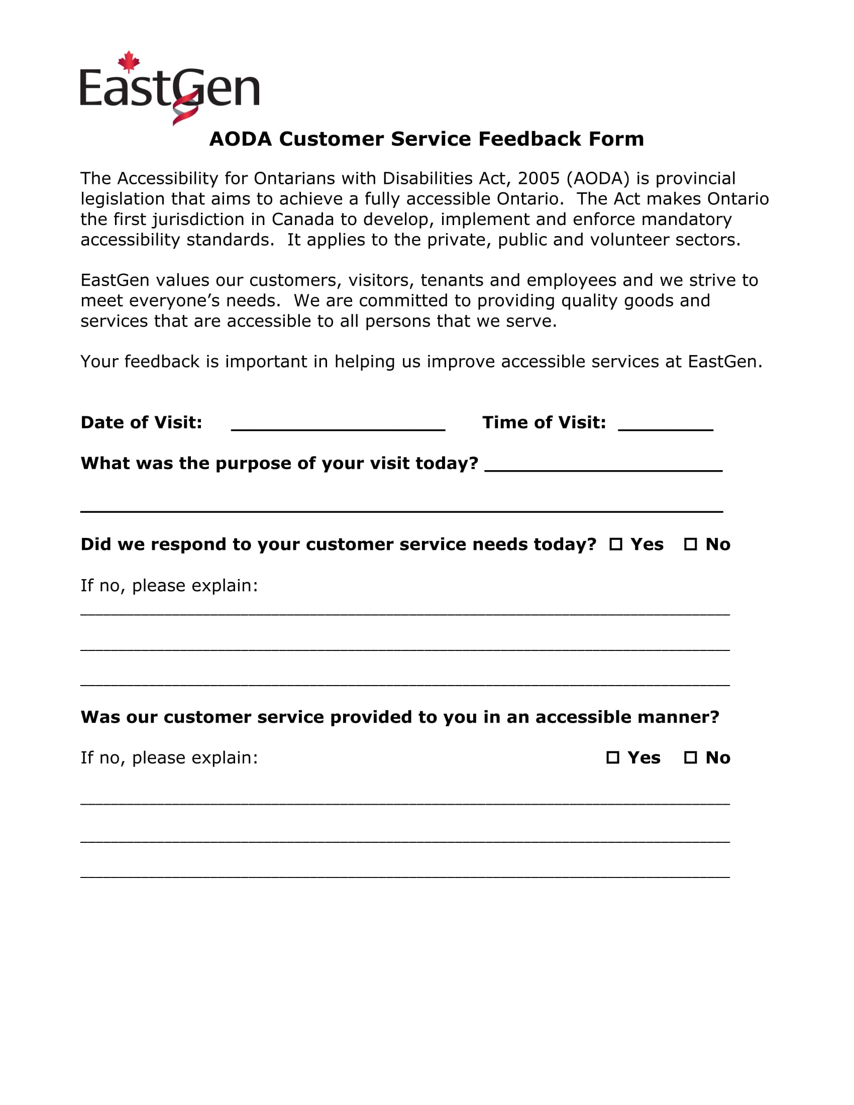 free service feedback form example 1