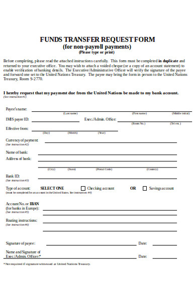 fund transfer request form