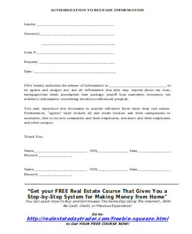 general real estate release form