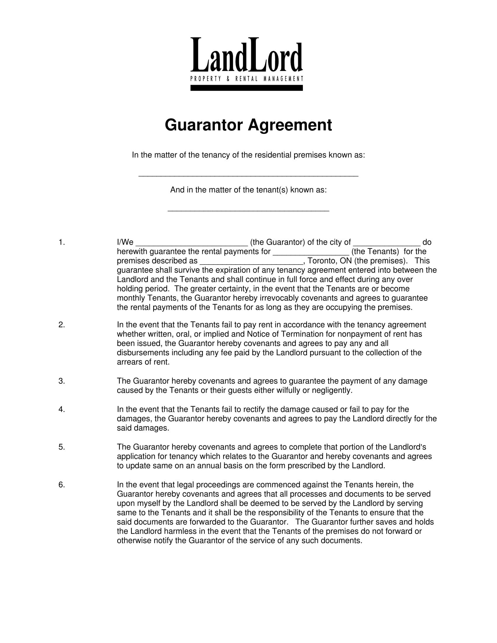 guarantor agreement form 1