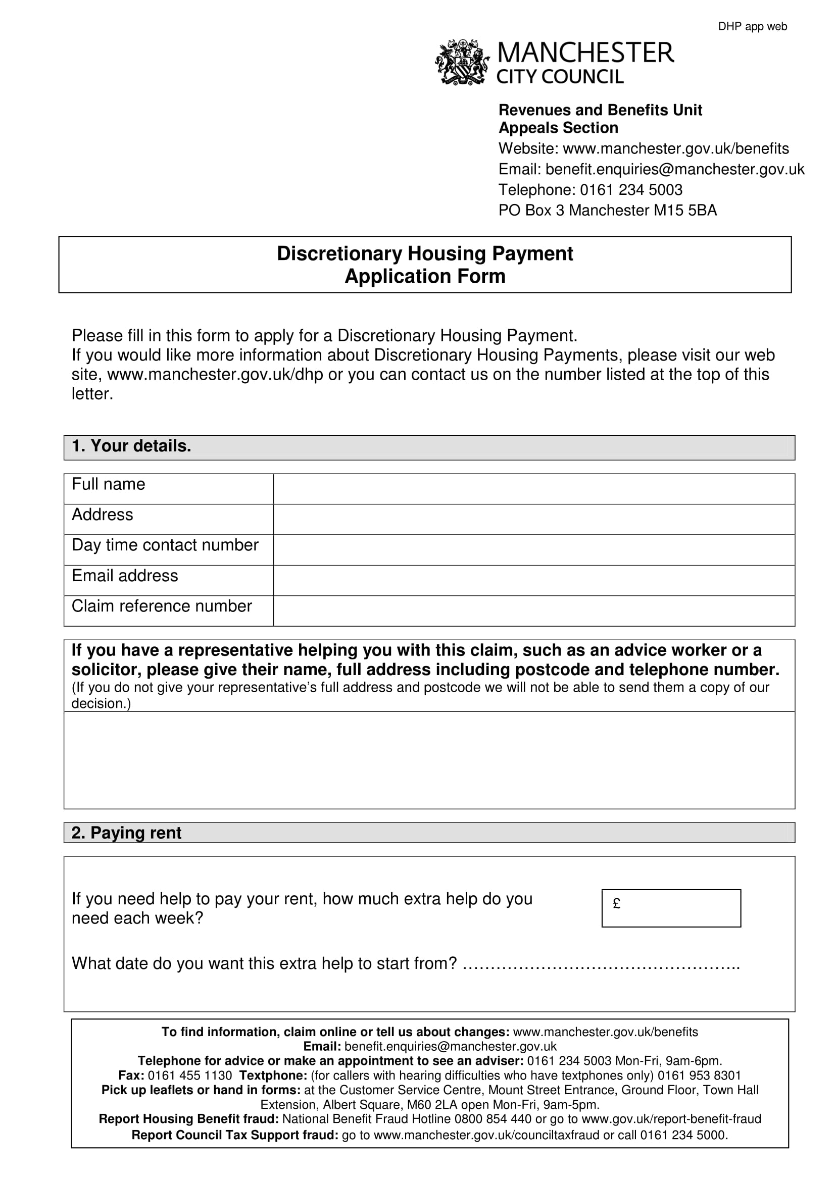 housing payment application form 1