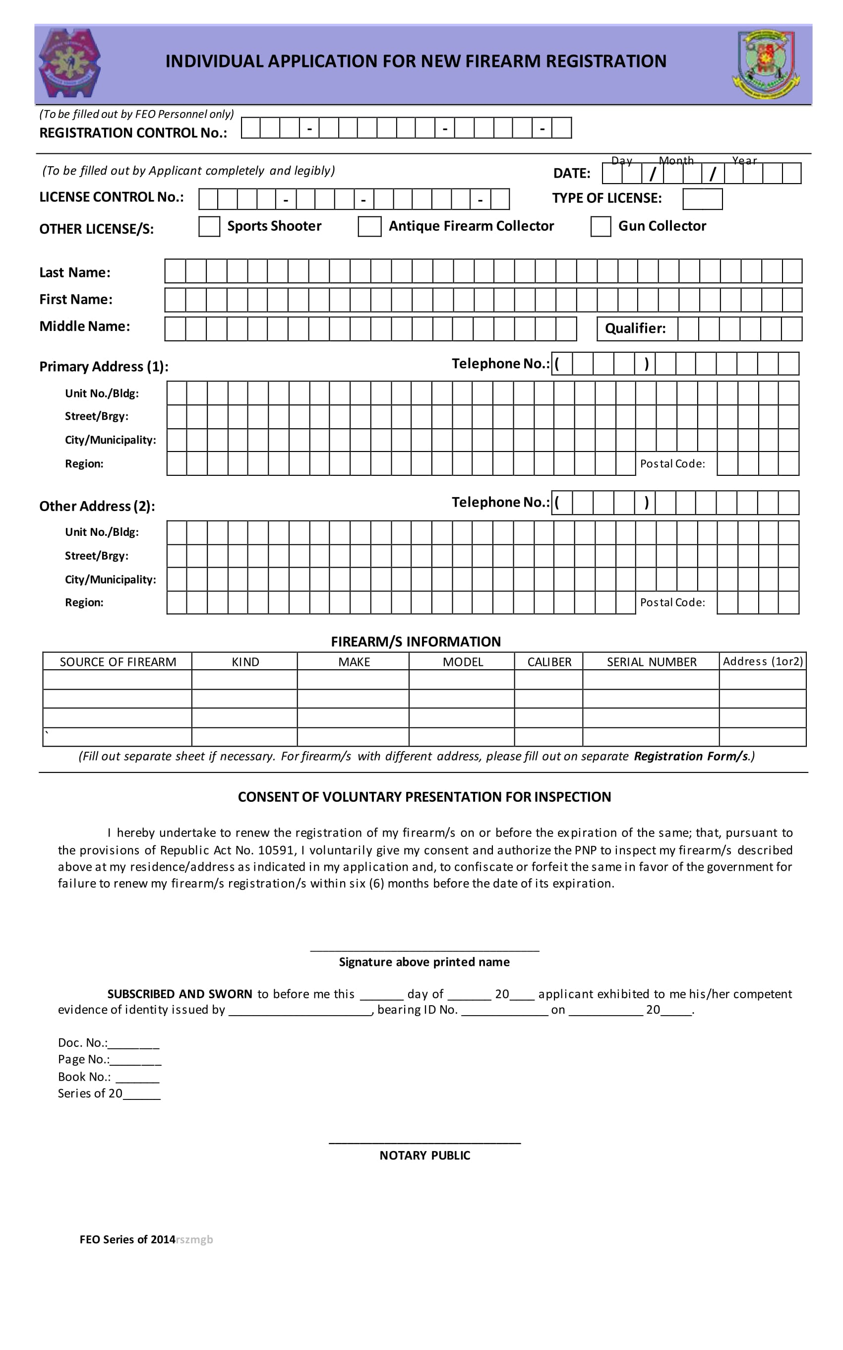 individual application for new firearm registration