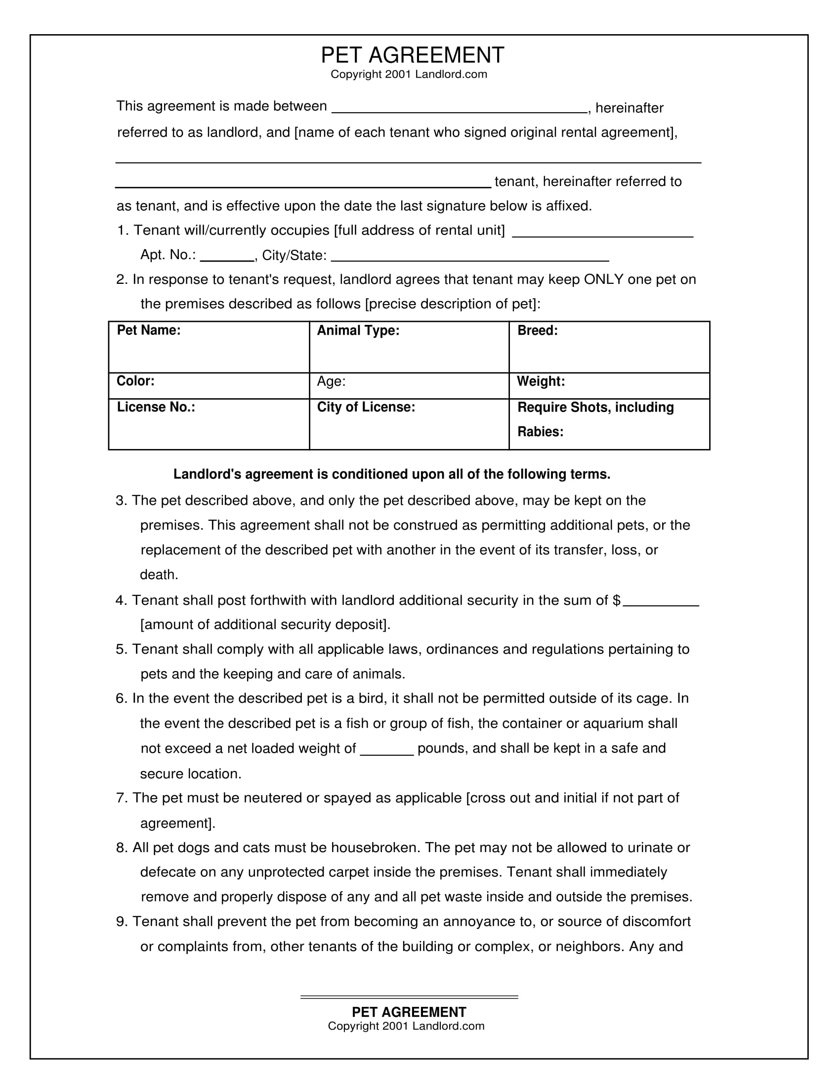 landlord pet agreement form 1