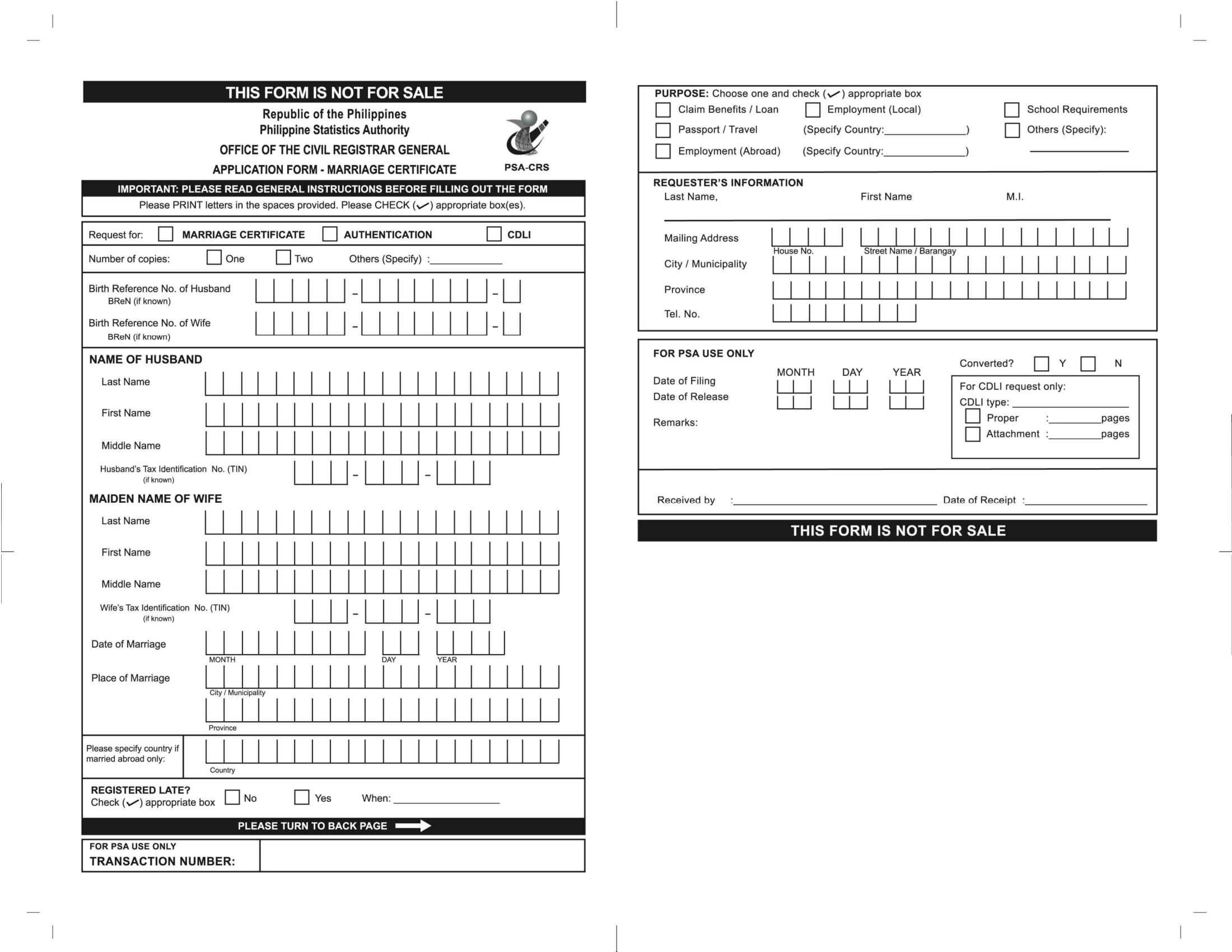 marriage certificate application form