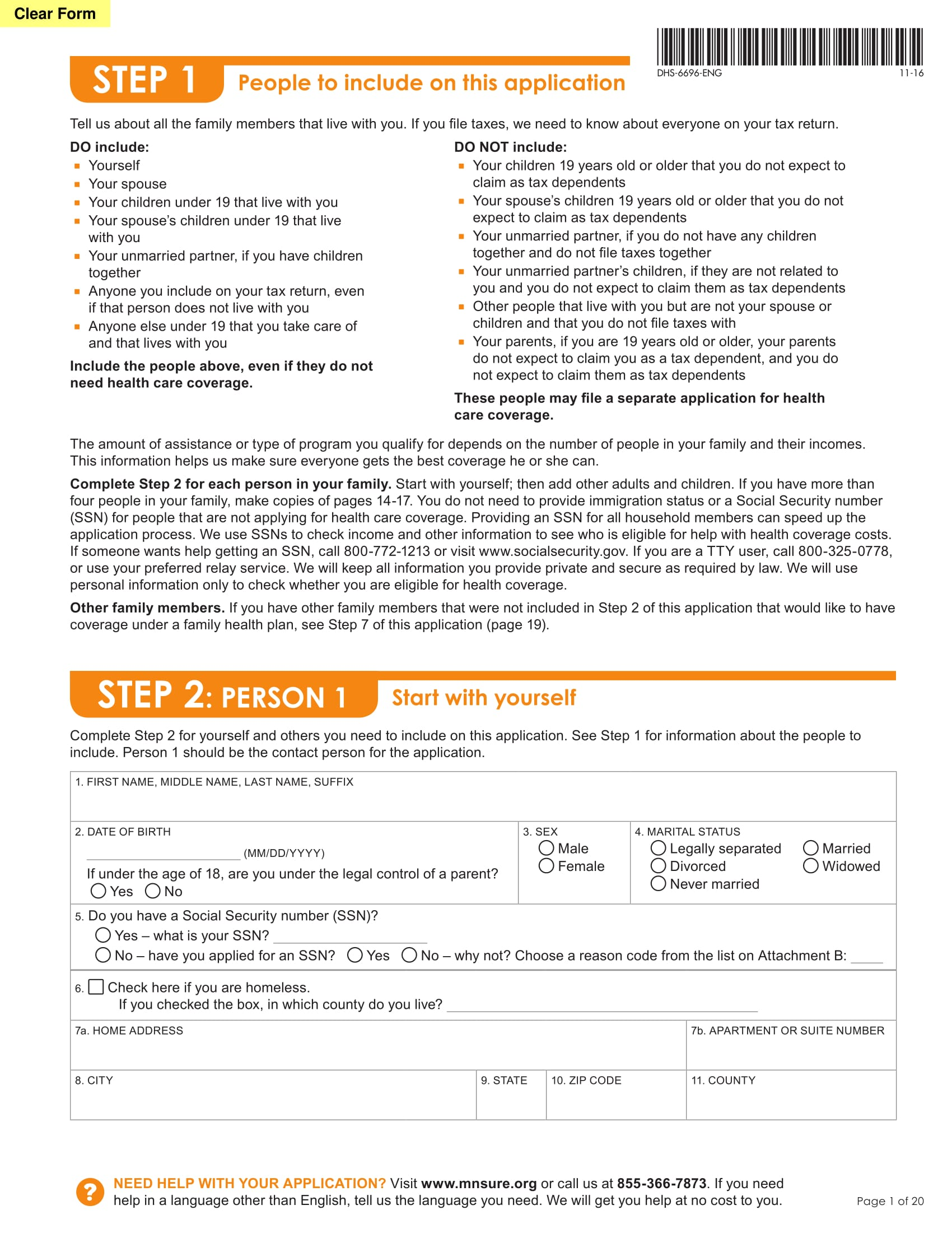 mnsure health care application form