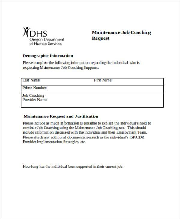 maintenance job coaching