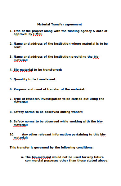 material transfer agreement form