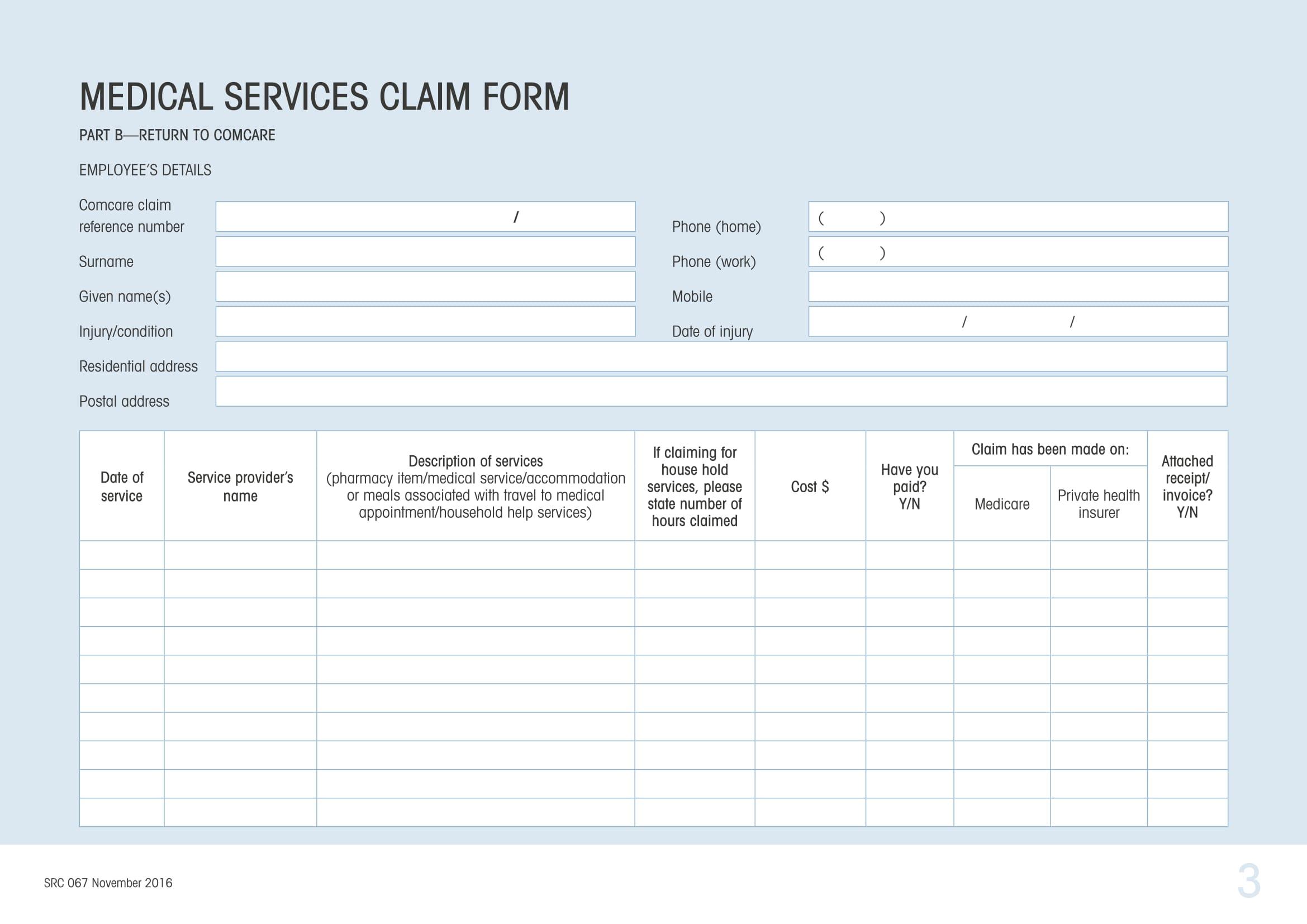 medical service claim 3