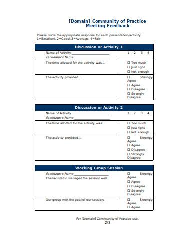 meeting feedback form sample