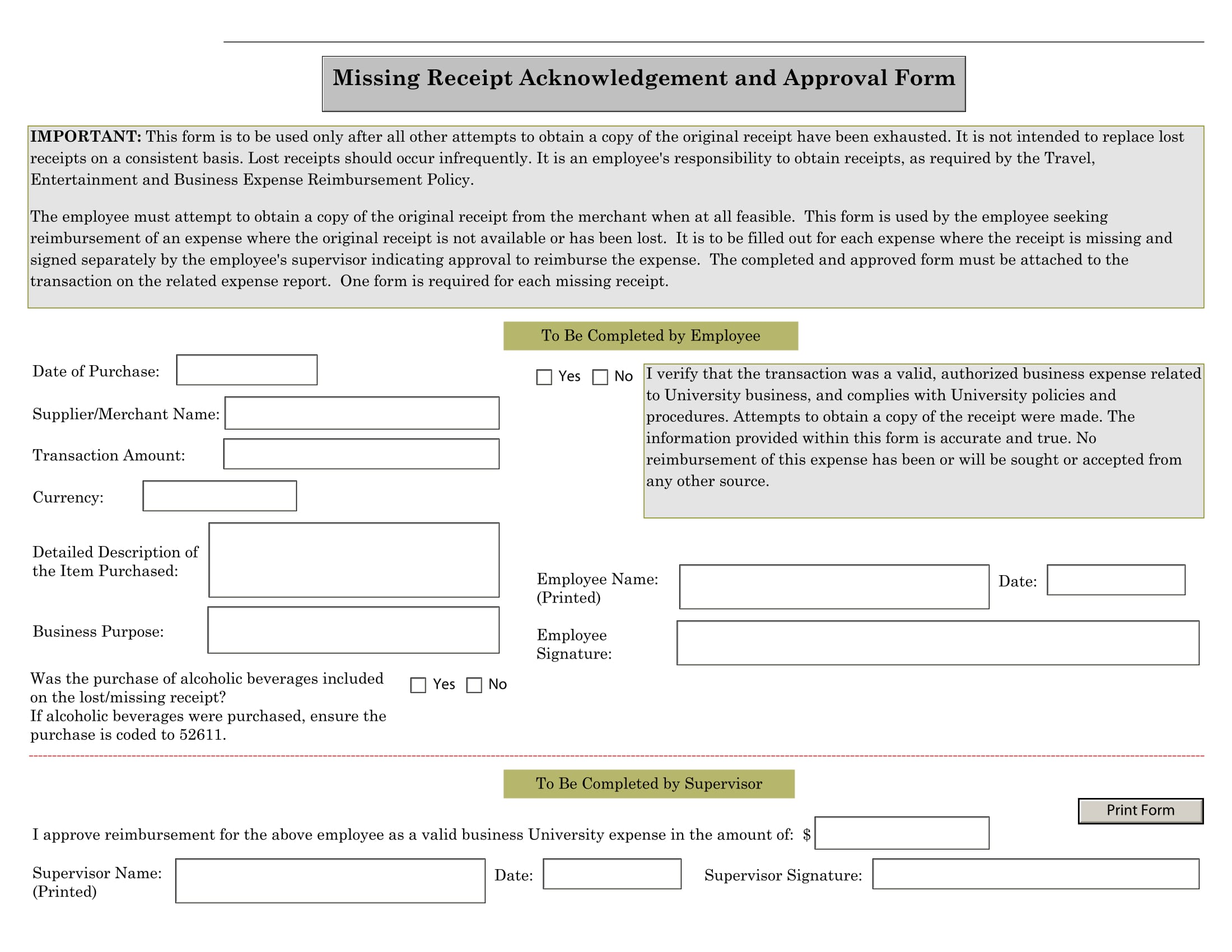 missing receipt acknowledgement and approval form 1