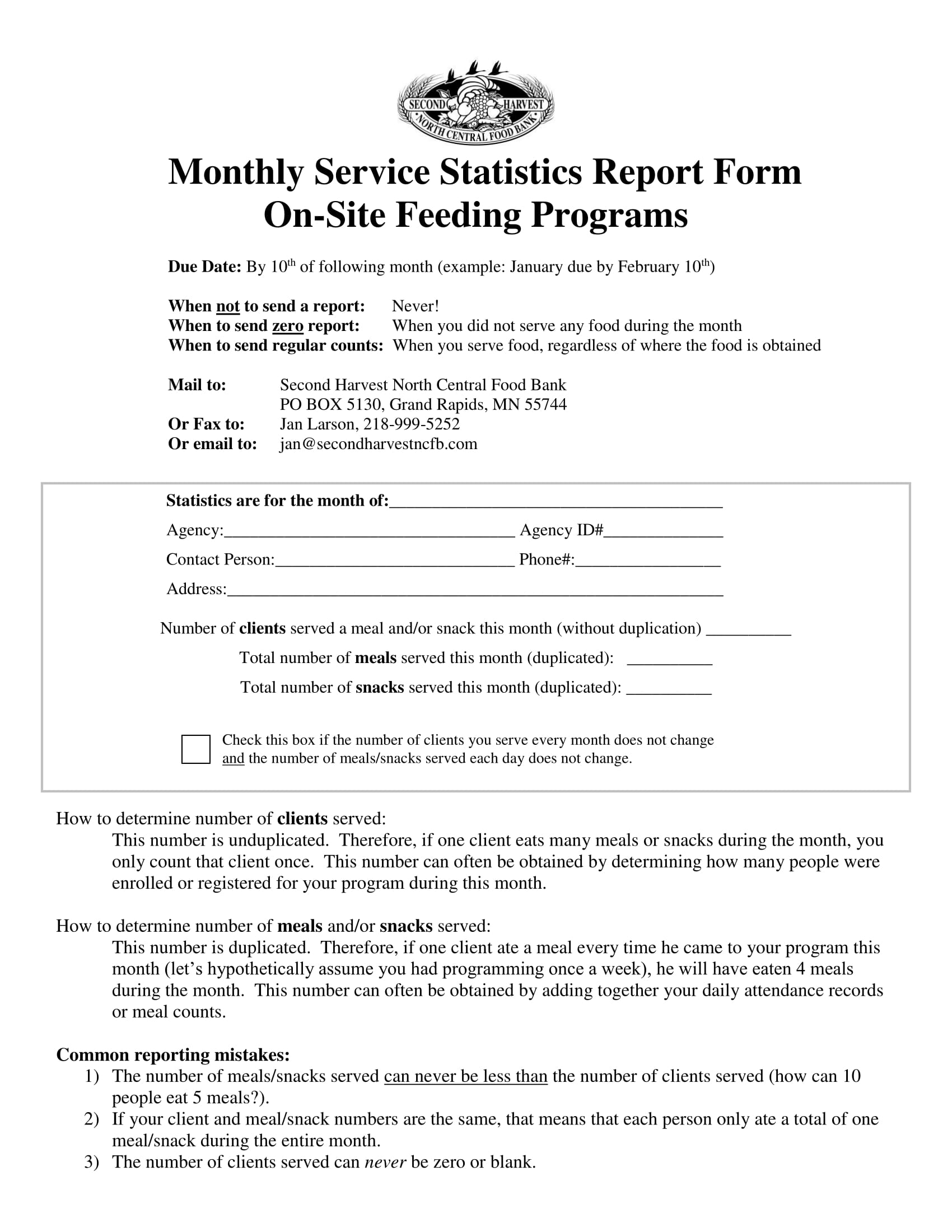 monthly service statistics report form 1