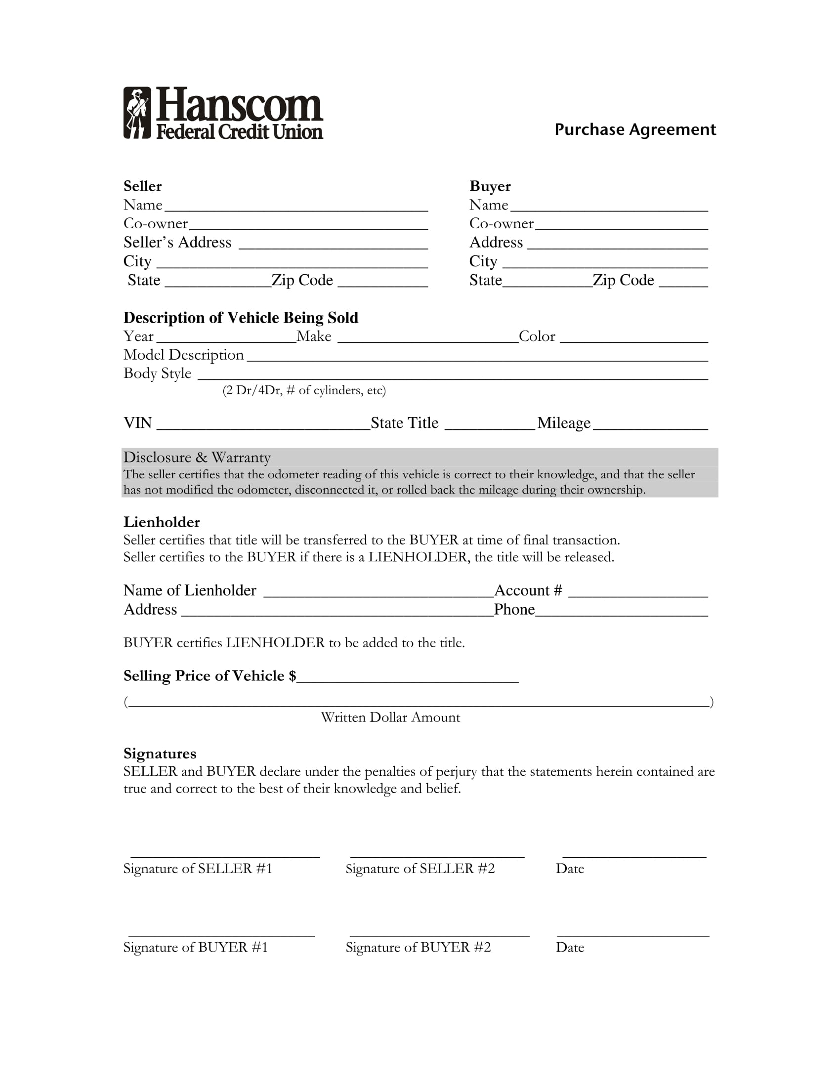10 Purchase Forms Vehicle Purchase Business Purchase Real – Vehicle Purchase Agreement