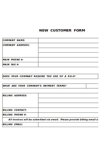 new customer information form