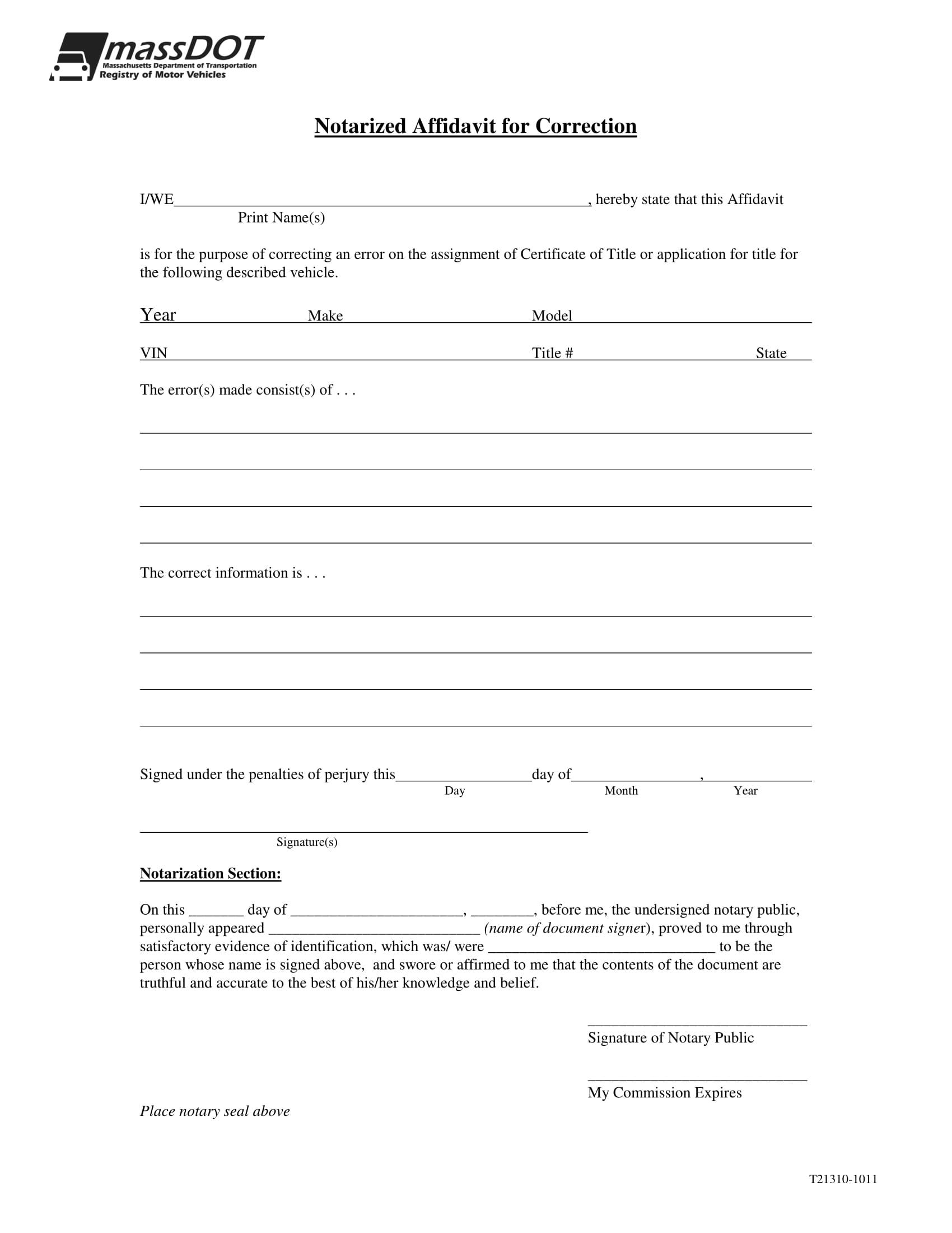 notarized affidavit of correction 1