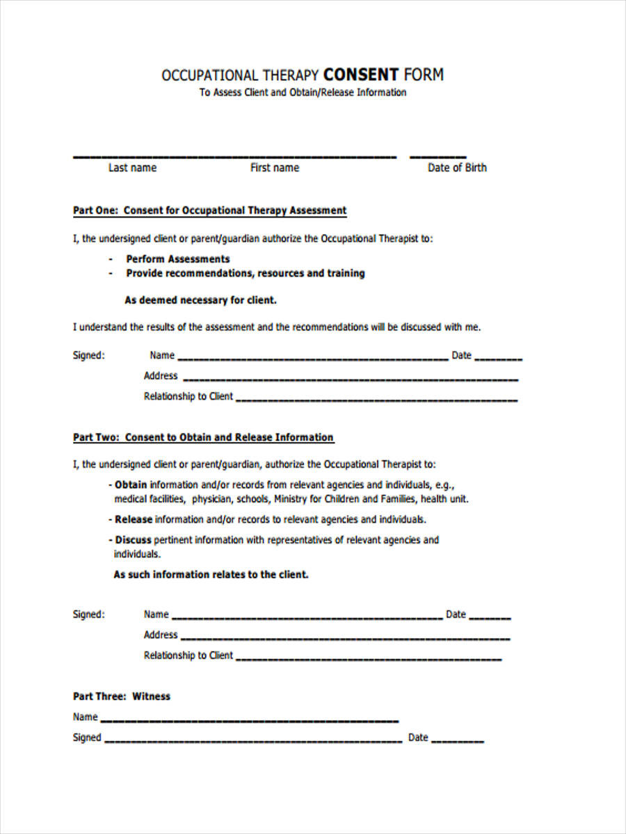 Therapy Consent Forms 8 Free Documents In Word Pdf