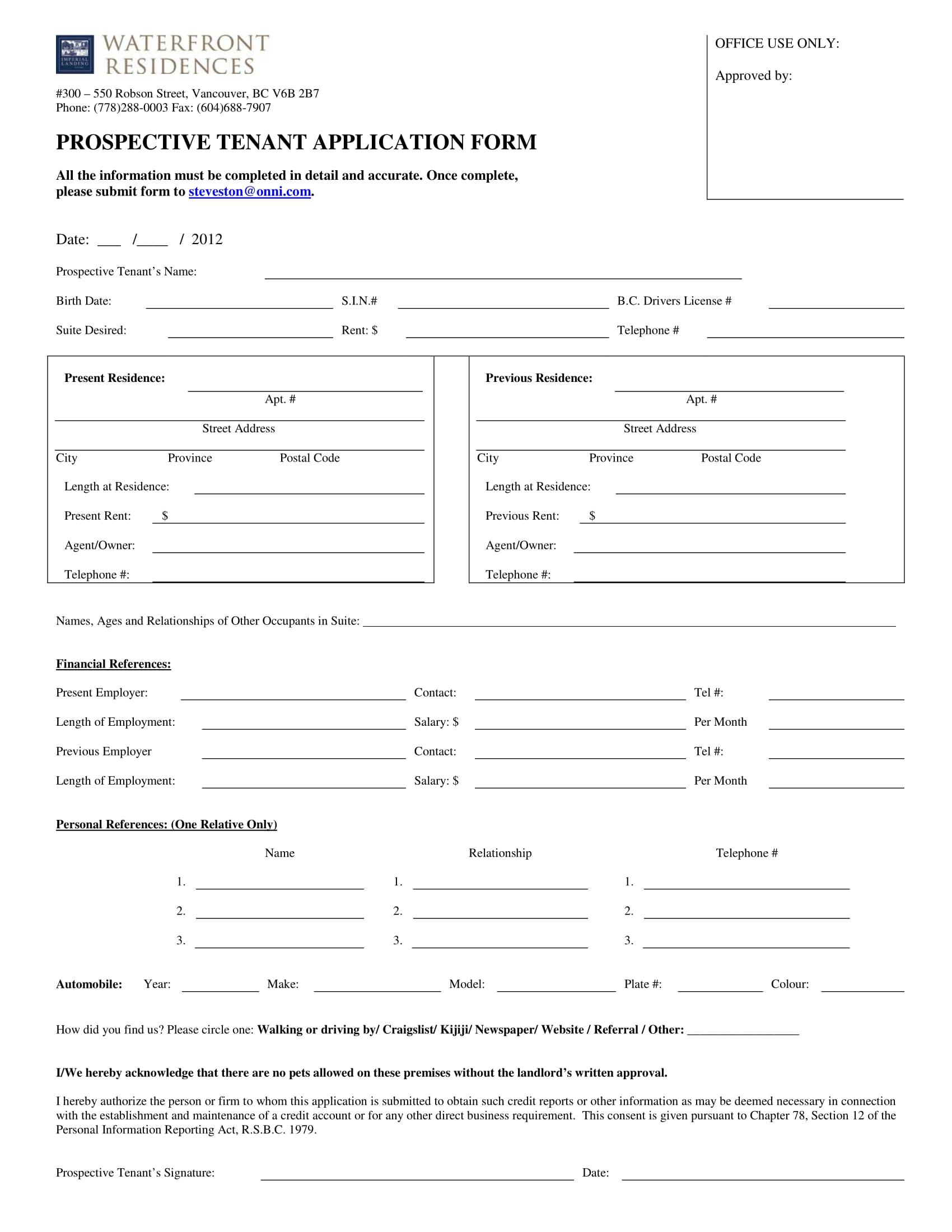 prospective tenant application form 1