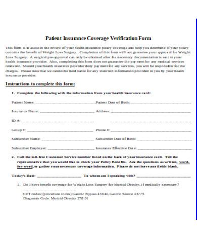 patient insurance coverage verification form