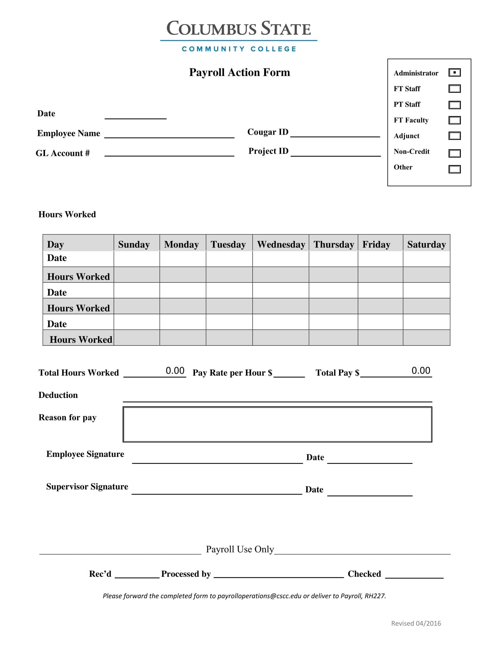 payroll action form 1