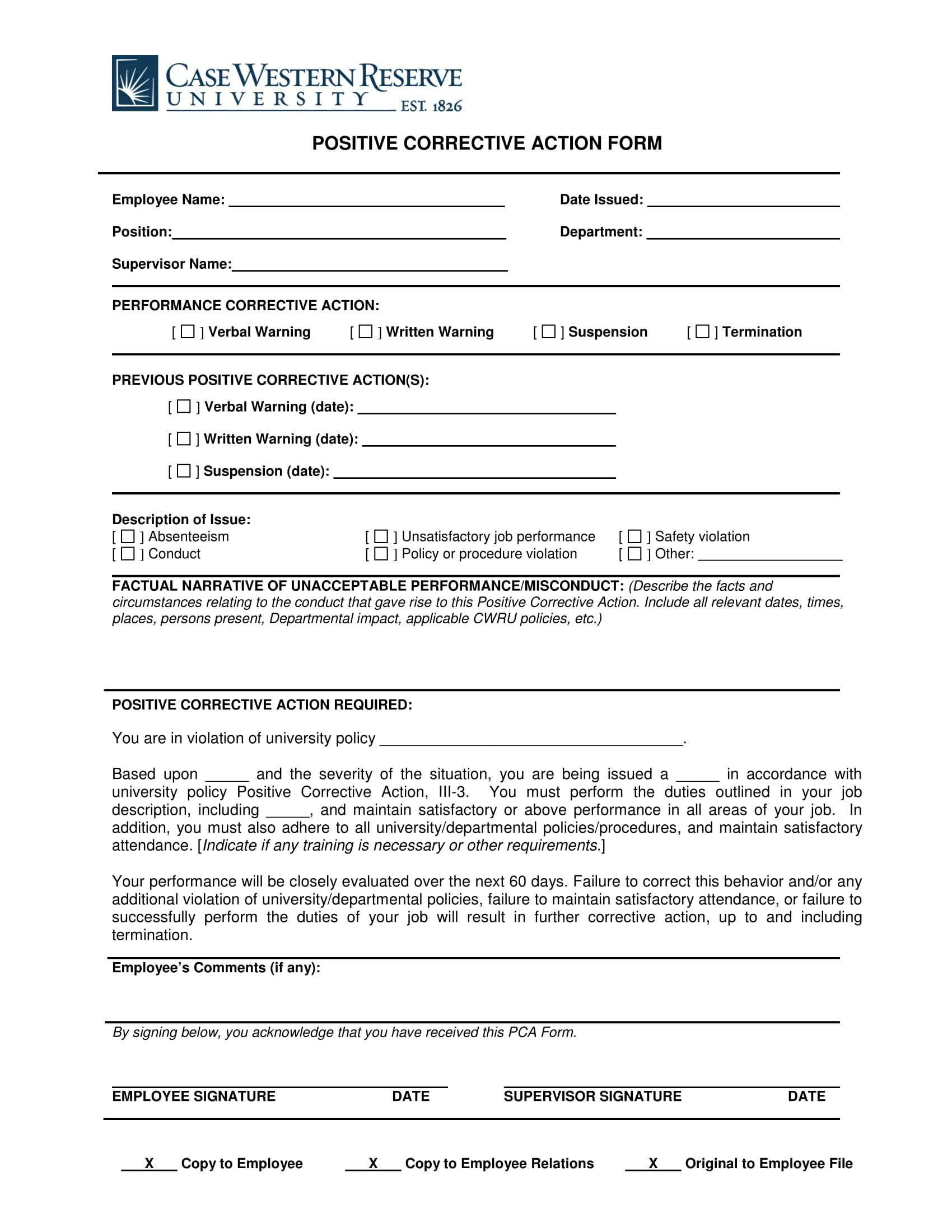 positive corrective action form 1