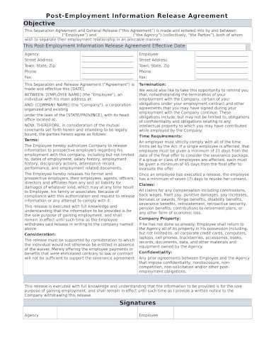 post employment information release agreement