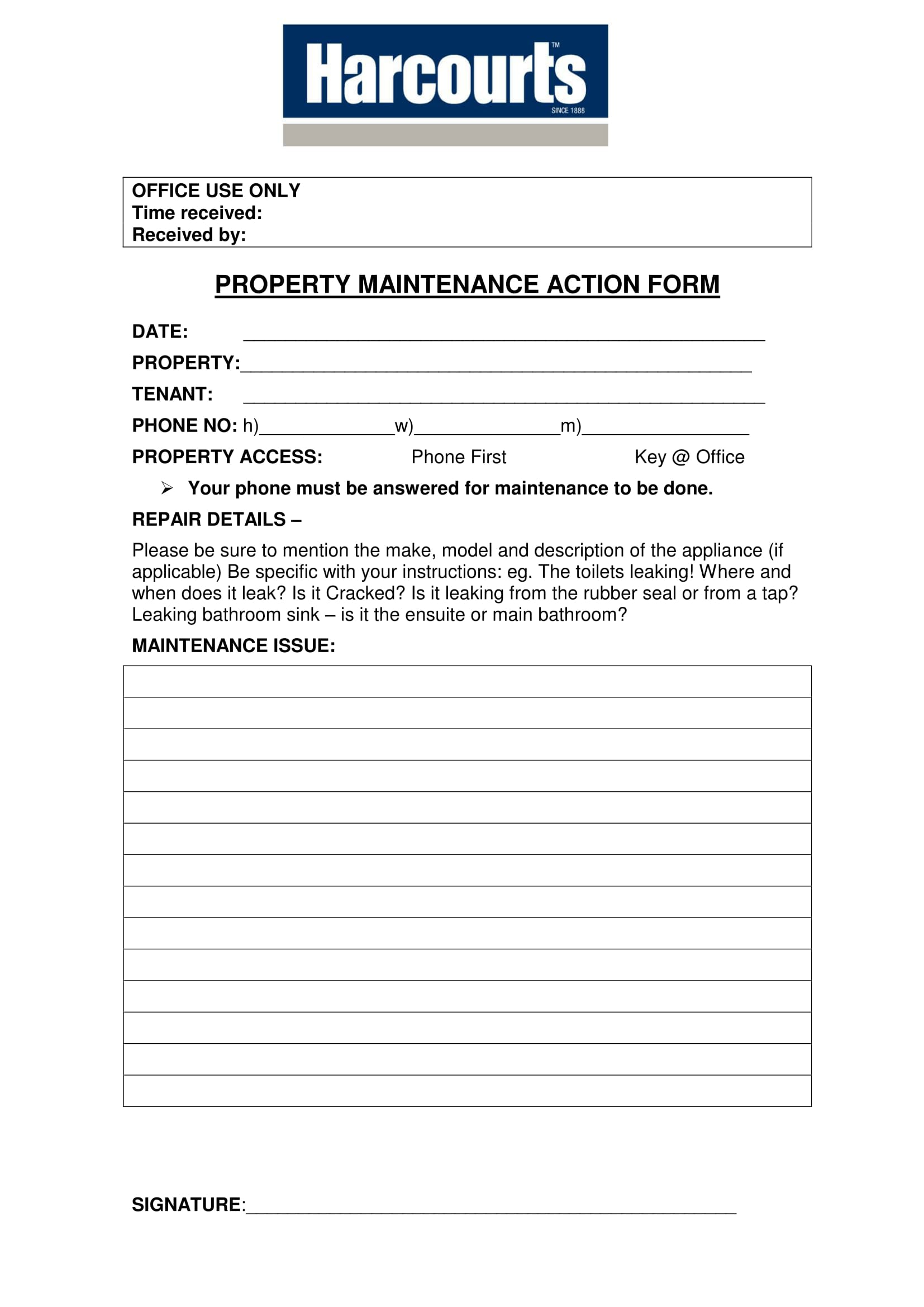 property maintenance action form 1