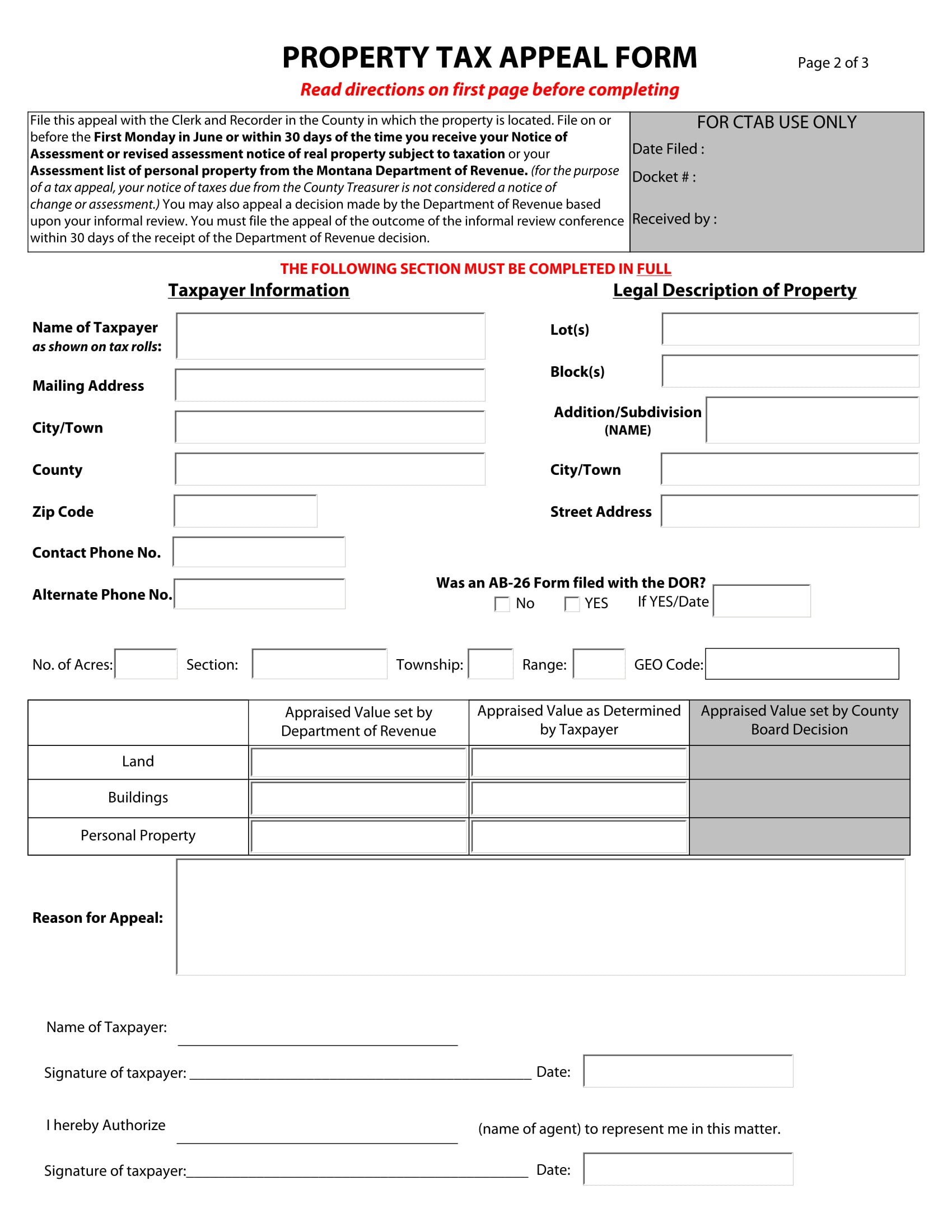 Property Tax Assessment Form 2