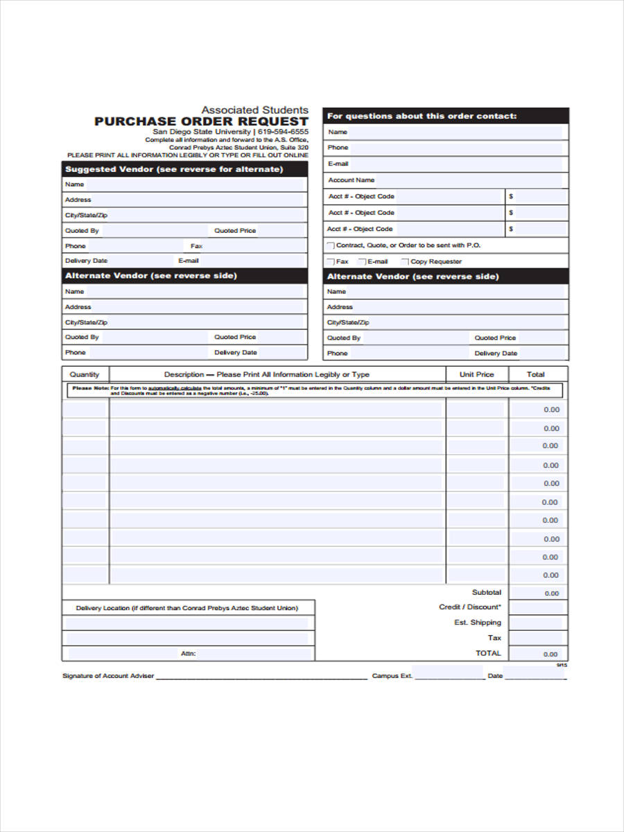 purchase order request example