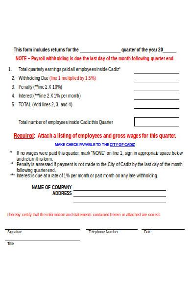 quarterly payroll tax form