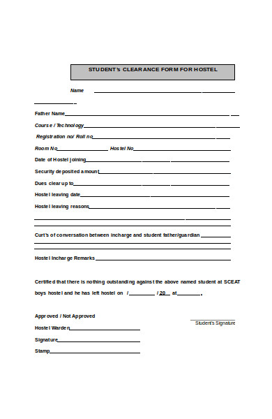sample clearance form