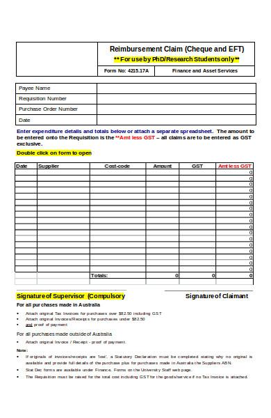 sample petty cash reimbursement form