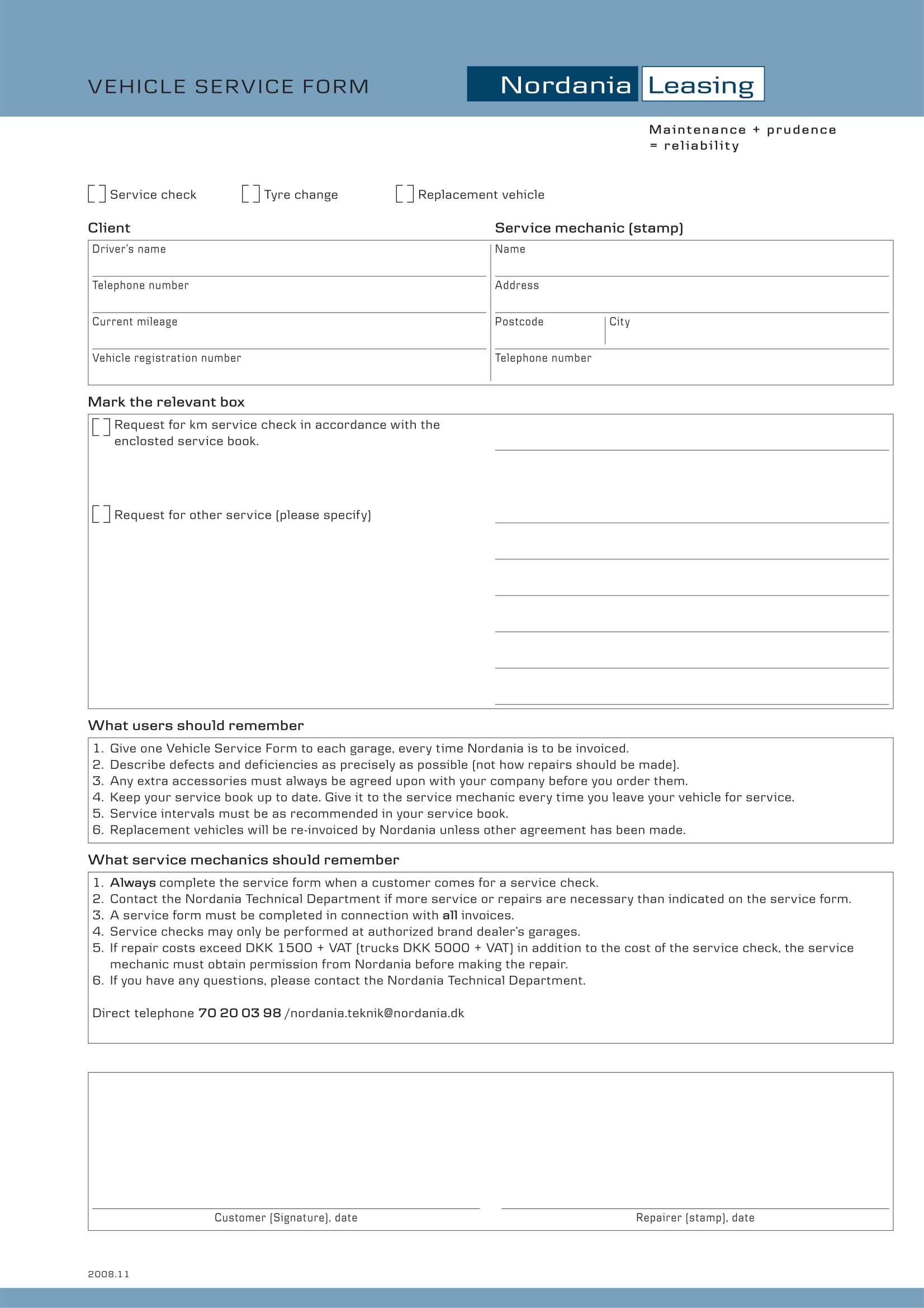 sample vehicle service form download 1