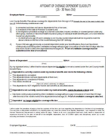 simple eligibility affidavit form