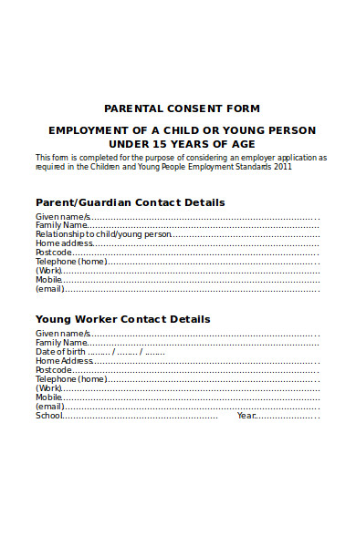 simple parental consent form