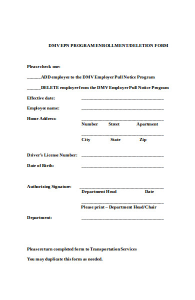 simple pull notice form