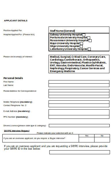 staff nurse application form