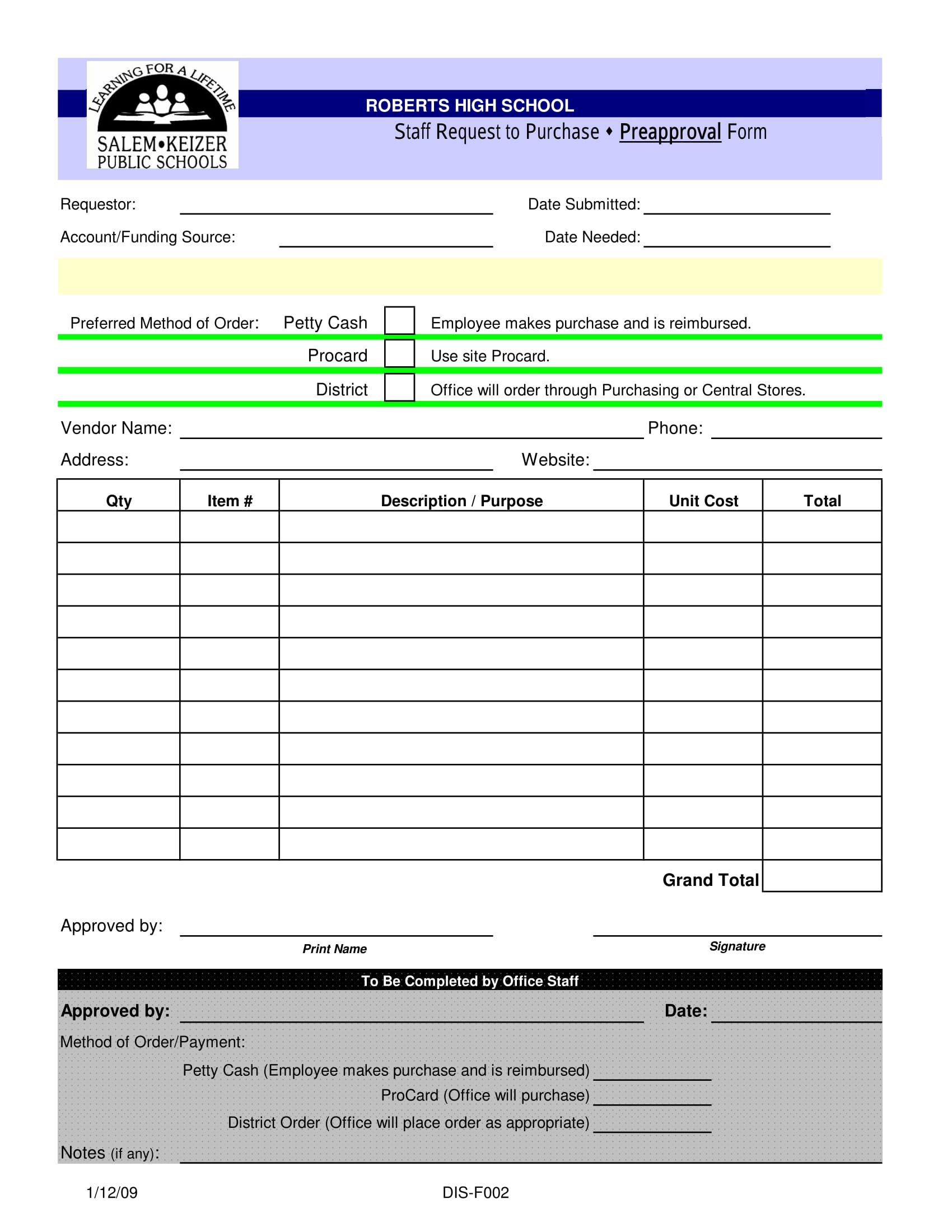 staff purchase preapproval form 1