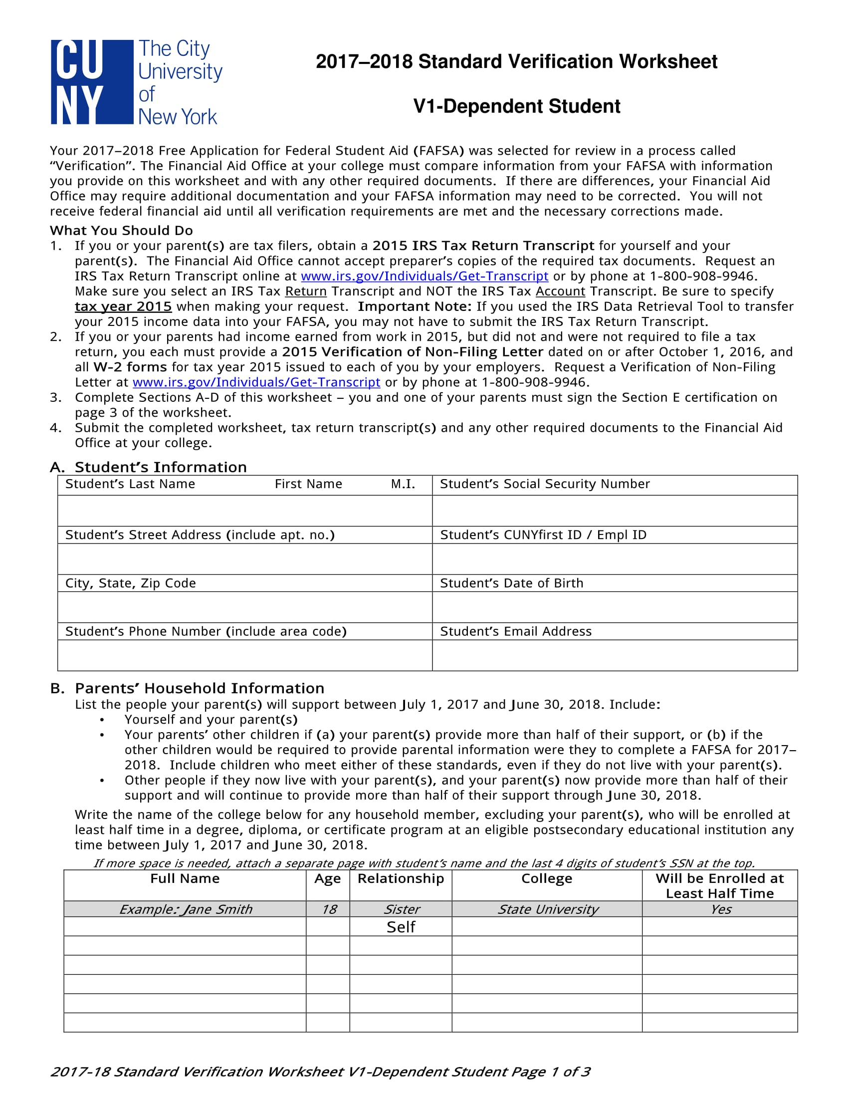 Standard Dependent Verification Worksheet 1g