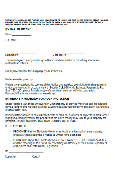 standard notice to owner form
