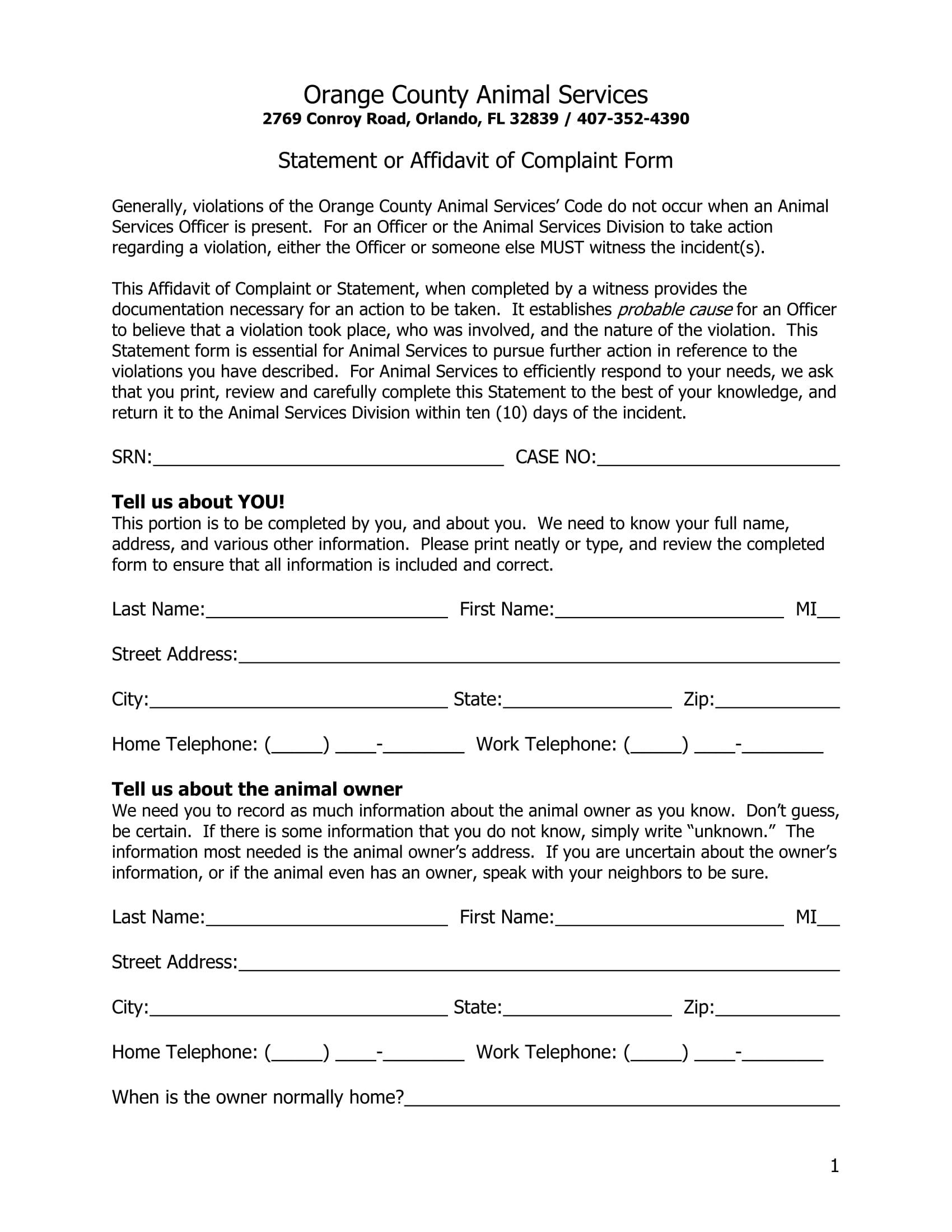 statement of affidavit of complaint form 1