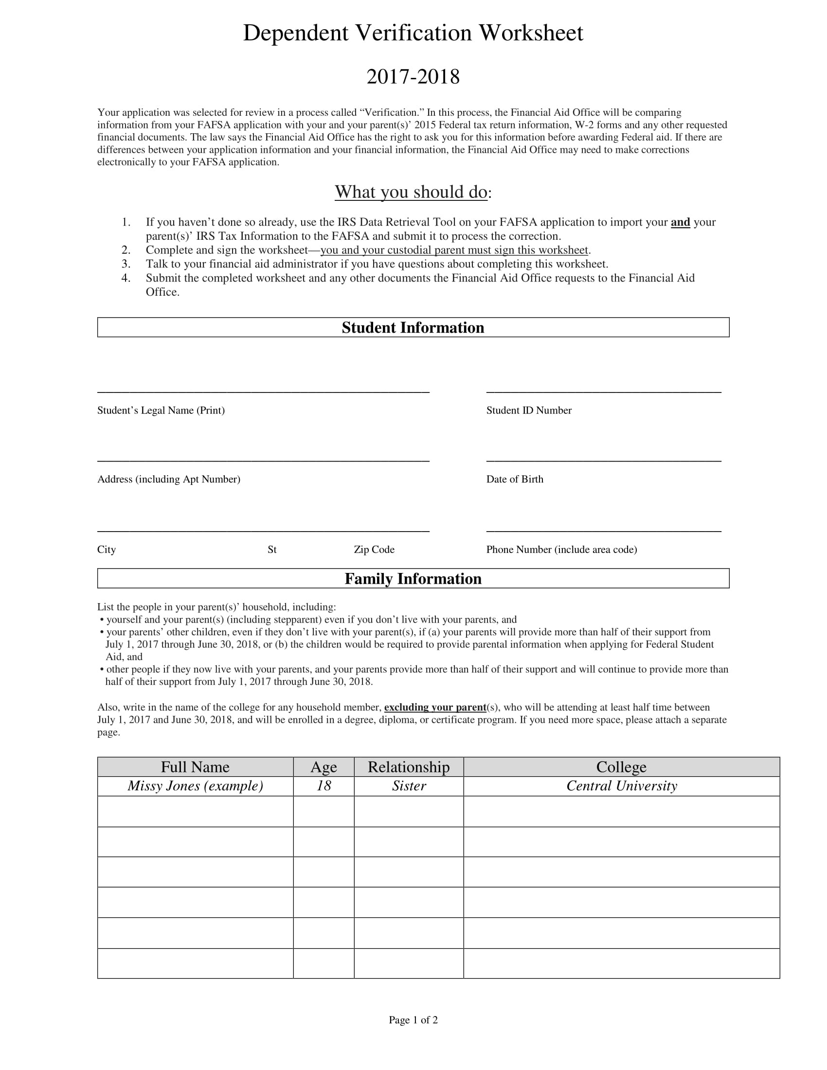 How To Fill Out A Dependent Verification Form Usages