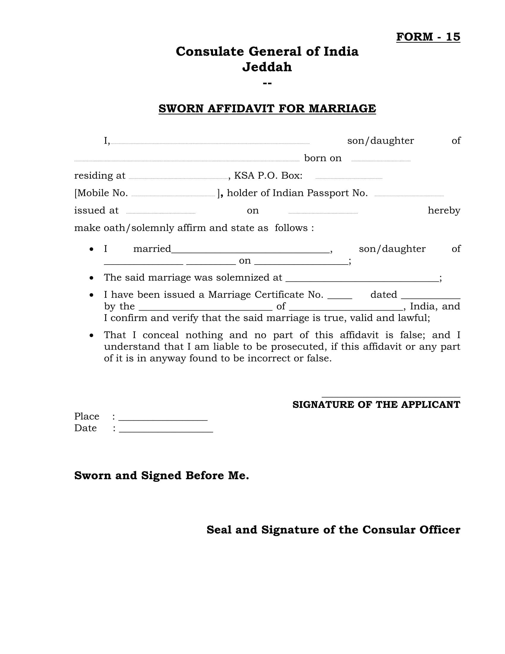 19 Free Affidavit Forms – Sworn Affidavit Form