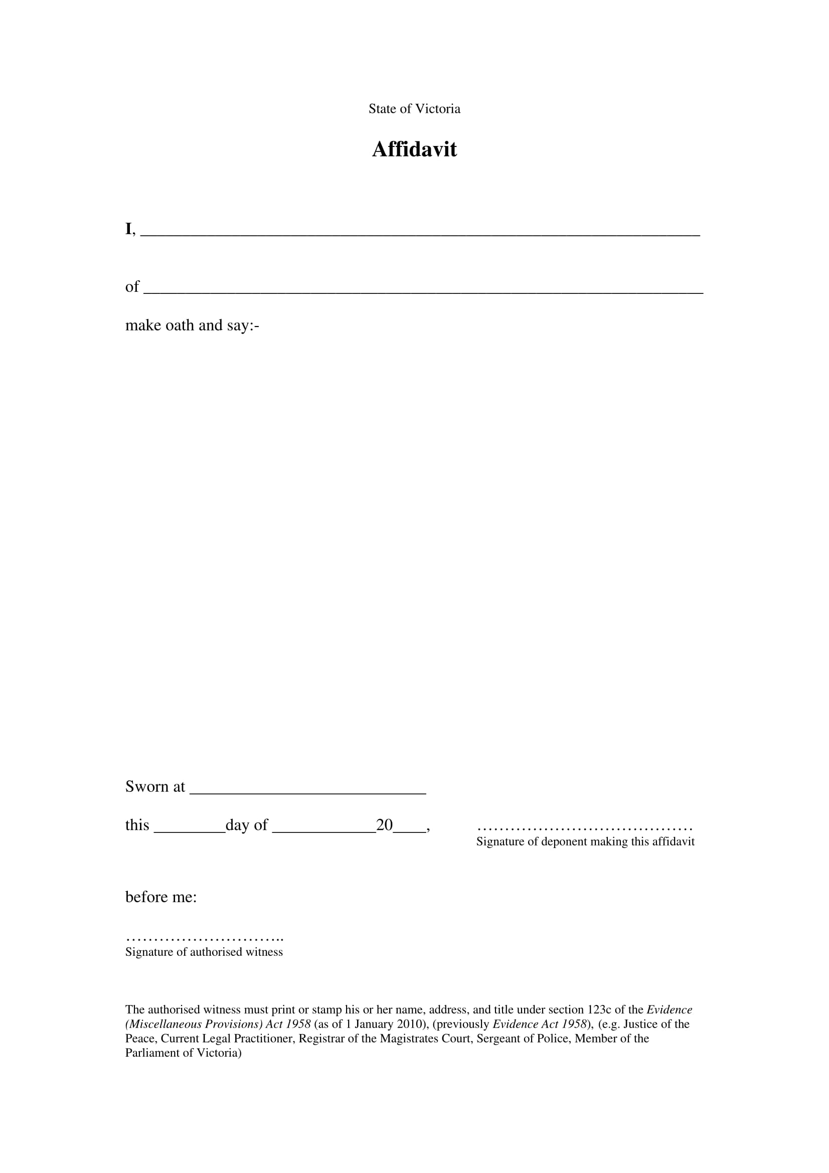 sworn statement affidavit form 1