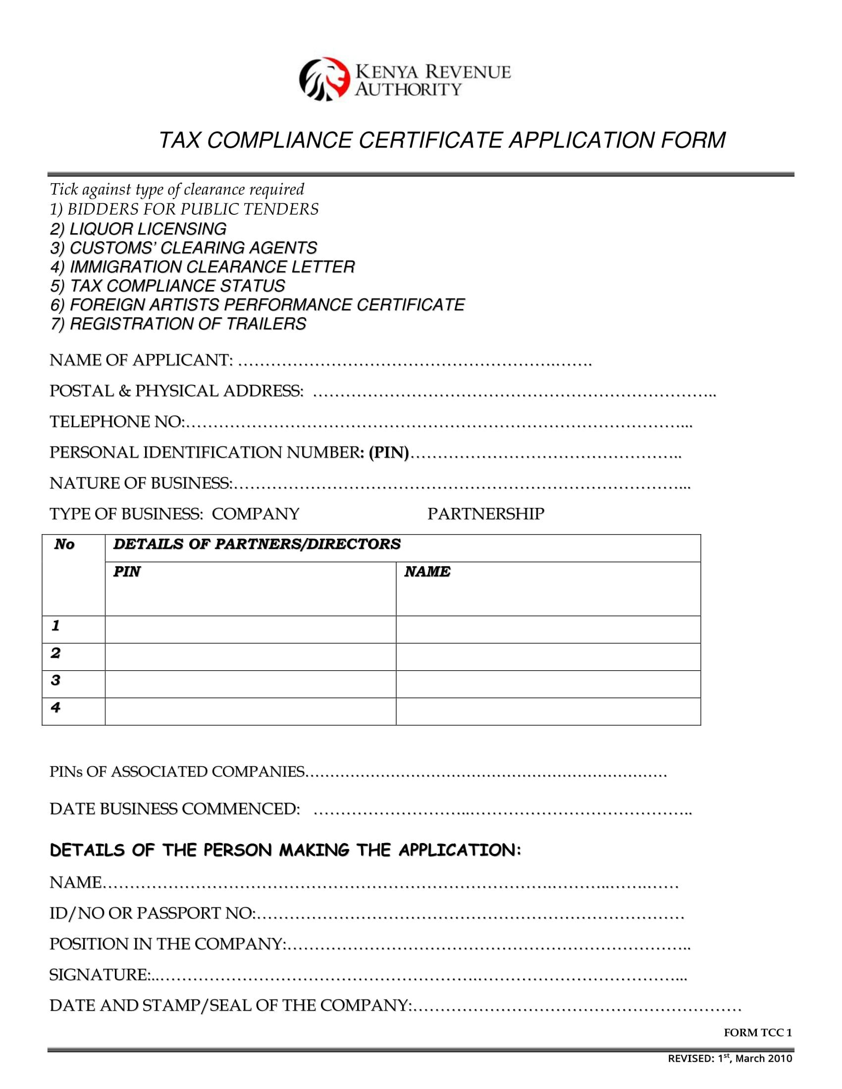 tax certificate 1