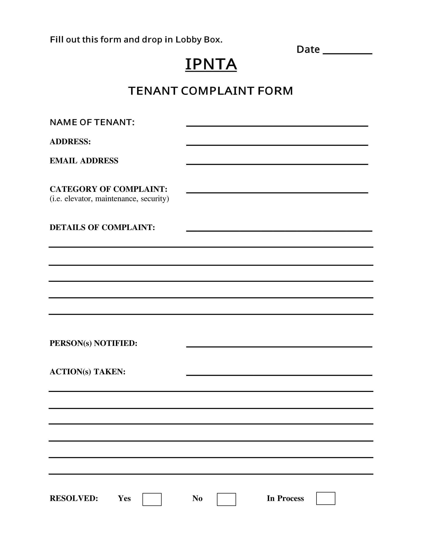tenant complaint form 1