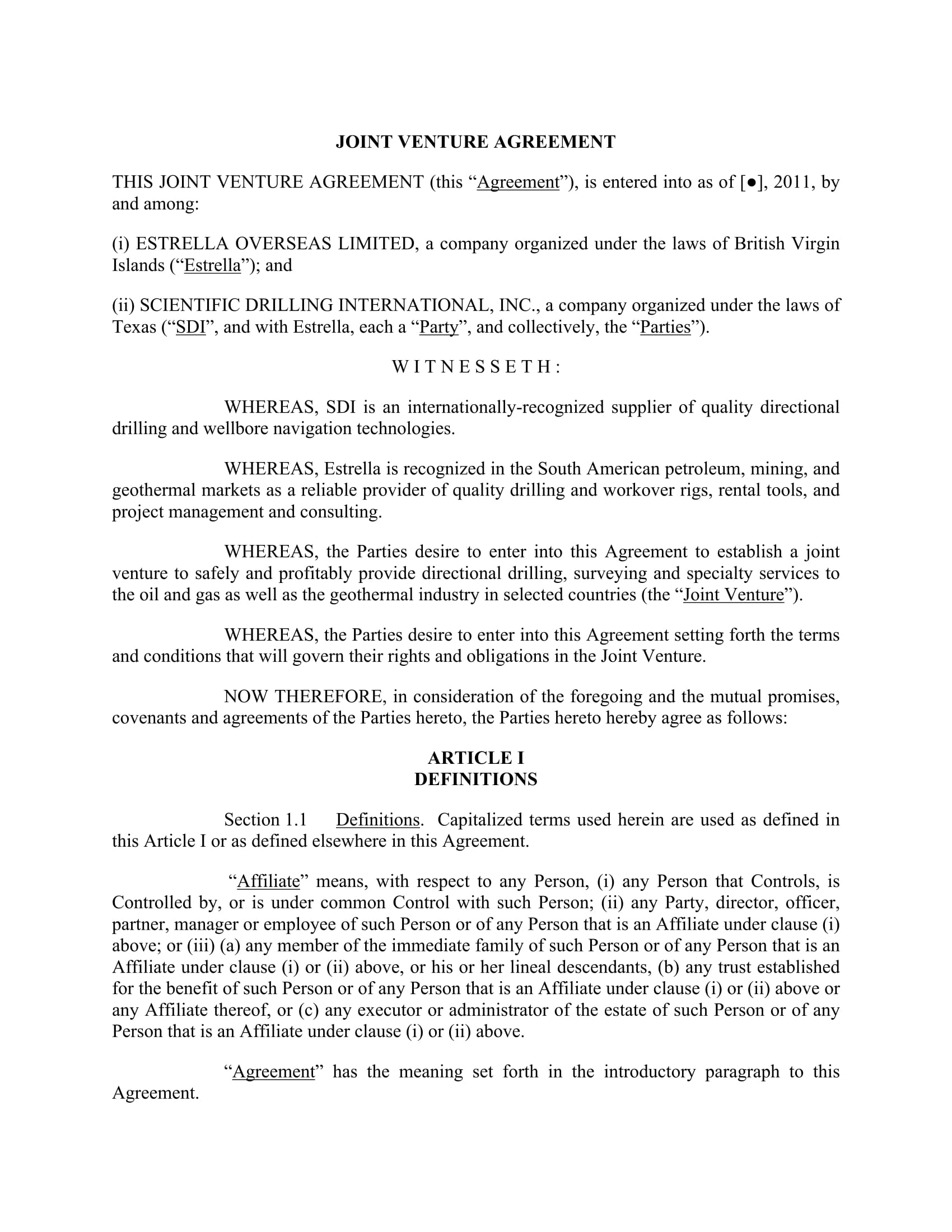 texas joint venture agreement form example 01