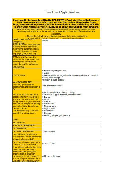 travel grant application form