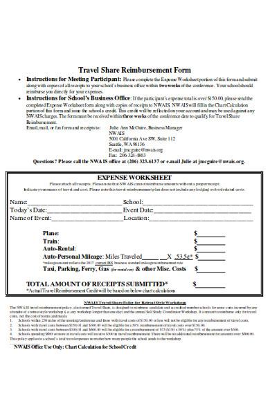 travel share reimbursement form