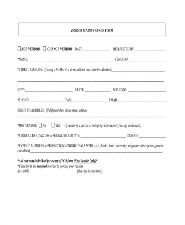 Vendor Request Form | 10 Maintenance Request Form Sample Free Sample Example Format